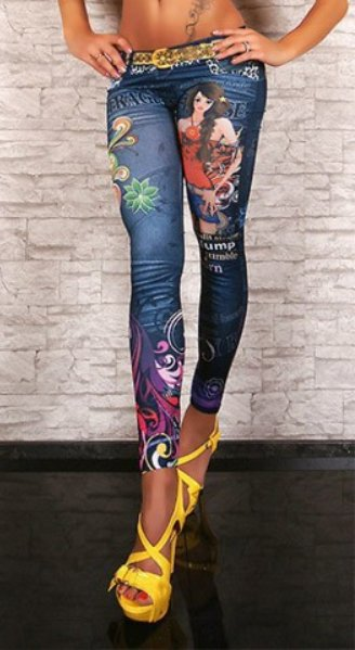 BLUE TATTOO GIRL LEGGINGS