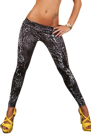 Black Leopard Jeans Print Leggings