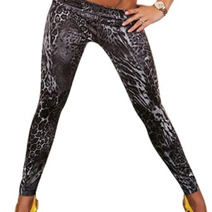 Black Leopard Jeans Print Leggings