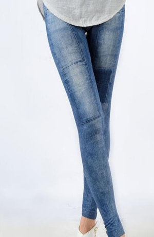 Summer Look Blue Jeans Print Leggings