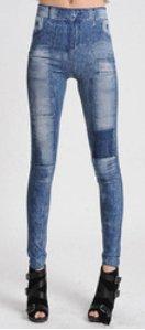 Summer Look Blue Jeans Print Leggings