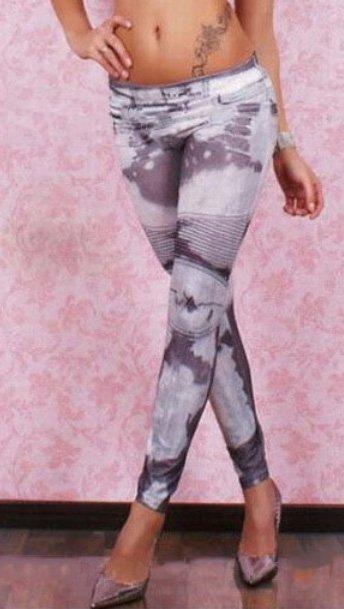 Grey with Fake Zipper Leggings