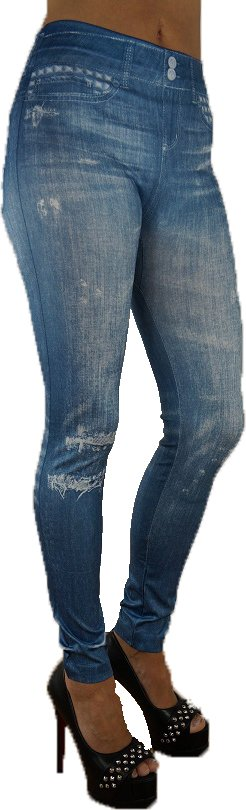 Fake Pocket Blue Leggings
