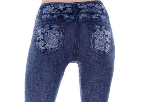 Floral Belt with Fake Pocket Leggings