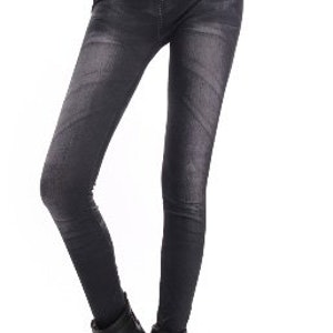 Blue & Black Fake Diamond Belt Leggings