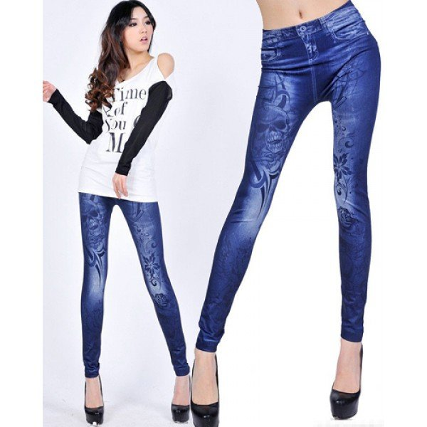 Skulls Tattoo Blue Jeans Print Leggings