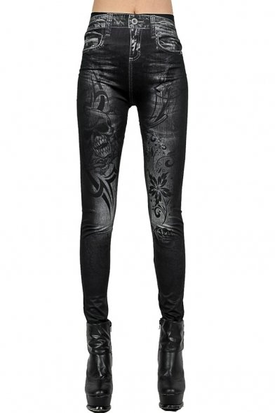 Skulls Tattoo Black Jeans Print Leggings