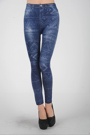 Tattoo Pattern Blue Leggings
