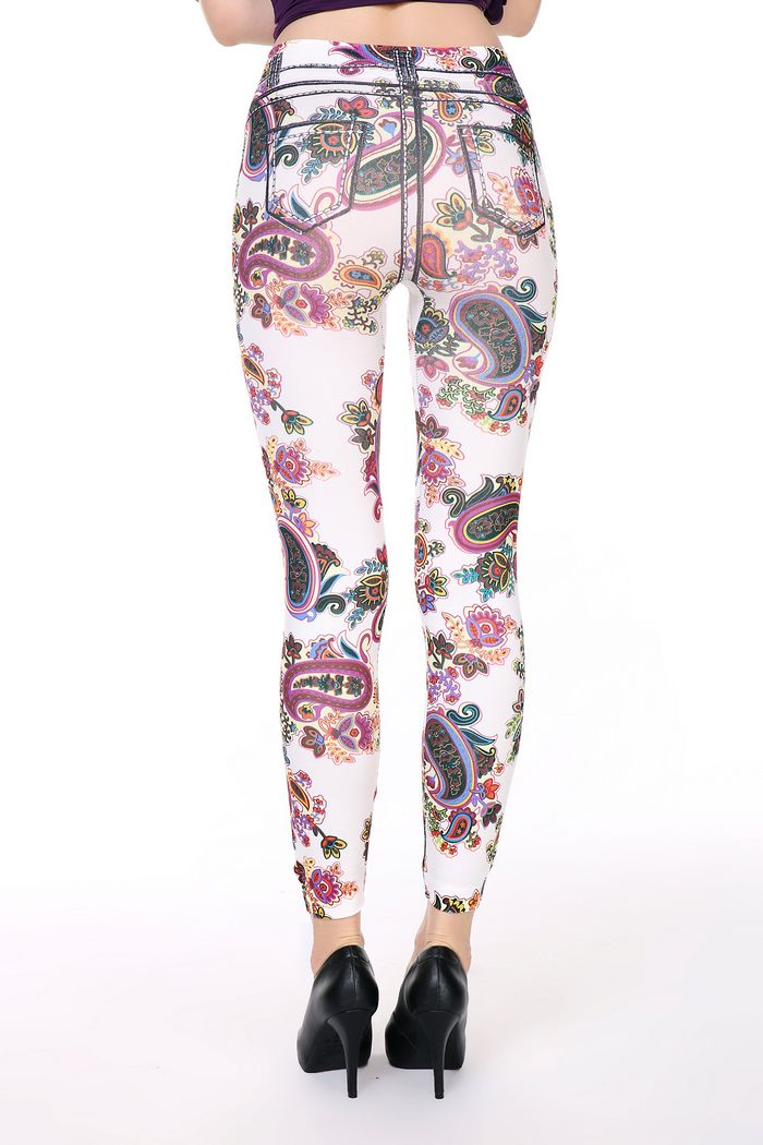 White Flower Tattoo Jeans Leggings