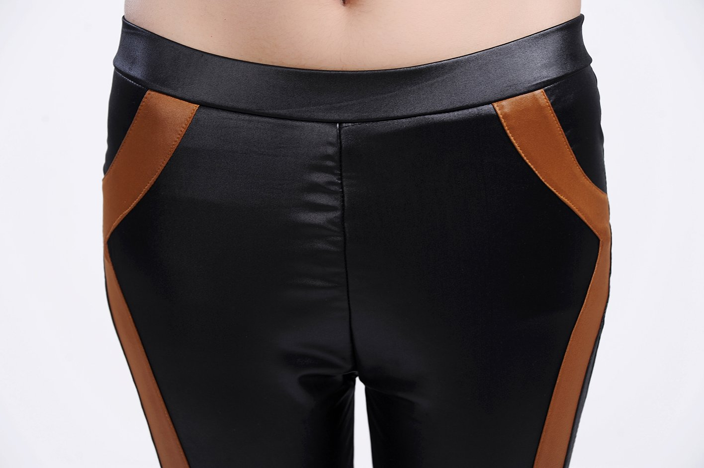 Black Faux Leather Look Leggings with Brown Stripe