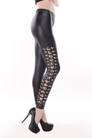 Vogue Black Faux Leather Patchwork Leopard Tear Hole Leggings