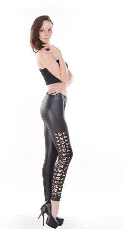 Vogue Black Faux Leather Patchwork Leopard Tear Hole Leggings