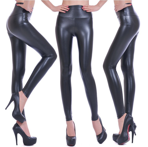 High Waist Leather Look Leggings
