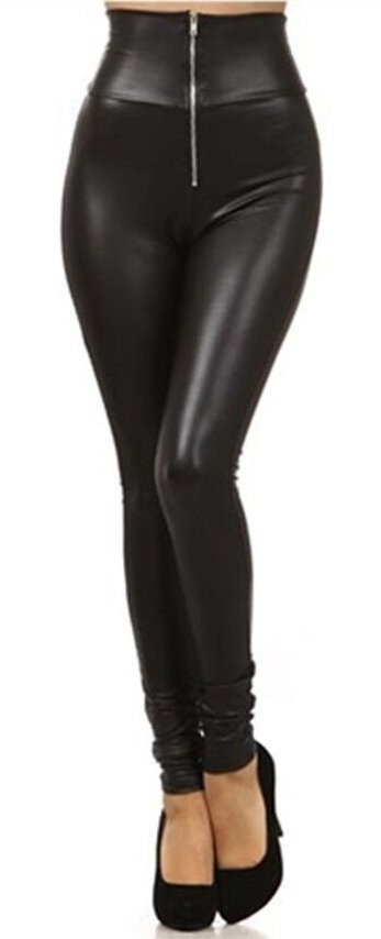 High waist black leather leggings