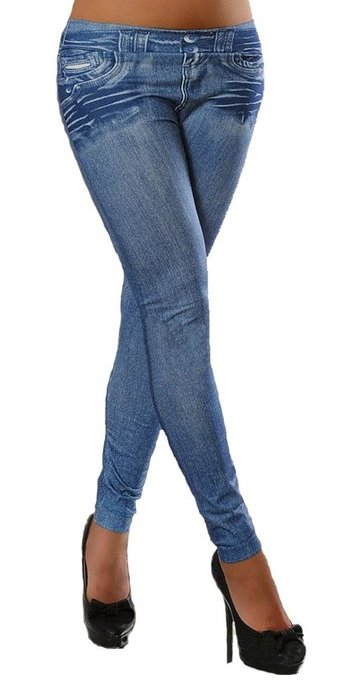 Blue Fake Pocket Jeans Leggings