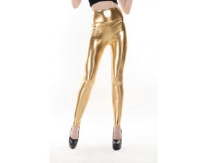 High Waist Gold Metallic Leggings
