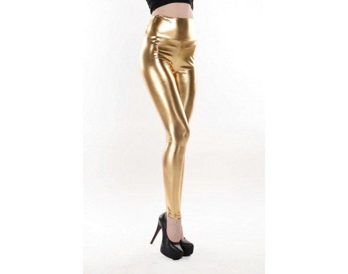 High Waist Gold Metallic Leggings