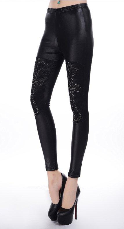 Rivet Cross Lace Patchwork Faux Leather Leggings