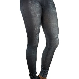 Black Star Belt Jeans Print Leggings