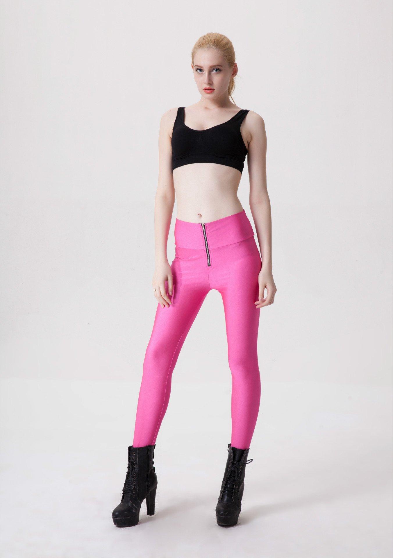 Zipper Neon Fluorescent Leggings Rosa