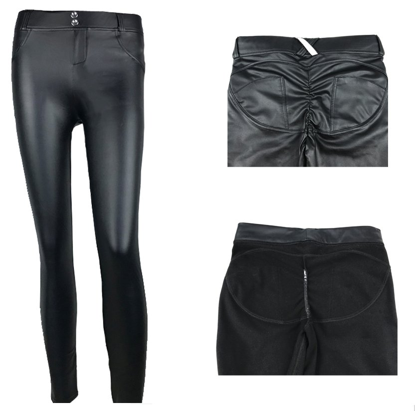 Pu Leather Low Waist Leggings Woman Sexy Hip Push Up Pants Gothic Leggings Jeggings