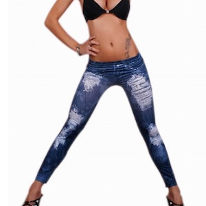 Blue Hole Imitation jeans print Leggings Jeggings with strass