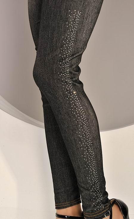 Denim jeans leggings jeggings med glitter på sidorna