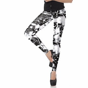 Black White Laser Lightning Leggings