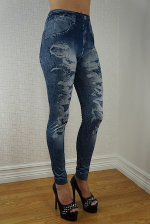 Blue Fake Hole Imitation Jeans Leggings