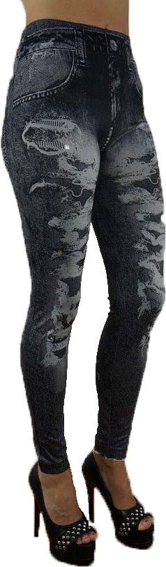 Black Fake Hole Imitation Jeans Leggings