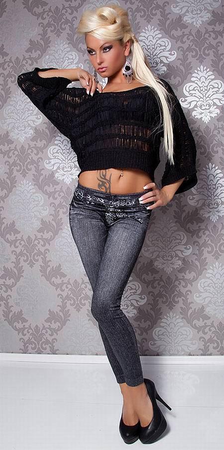 Leopard Scarf Belt Jeans Print Black Leggings