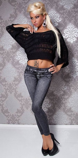 Leopard Scarf Belt Jeans Print Black Leggings