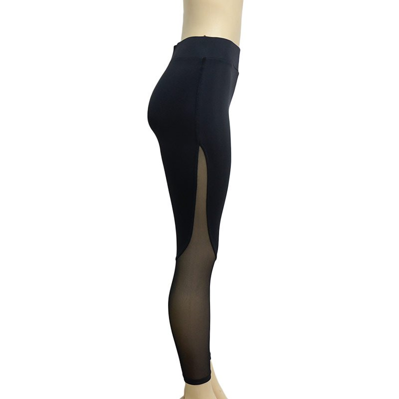 Fitness Leggings with Patchwork Mesh