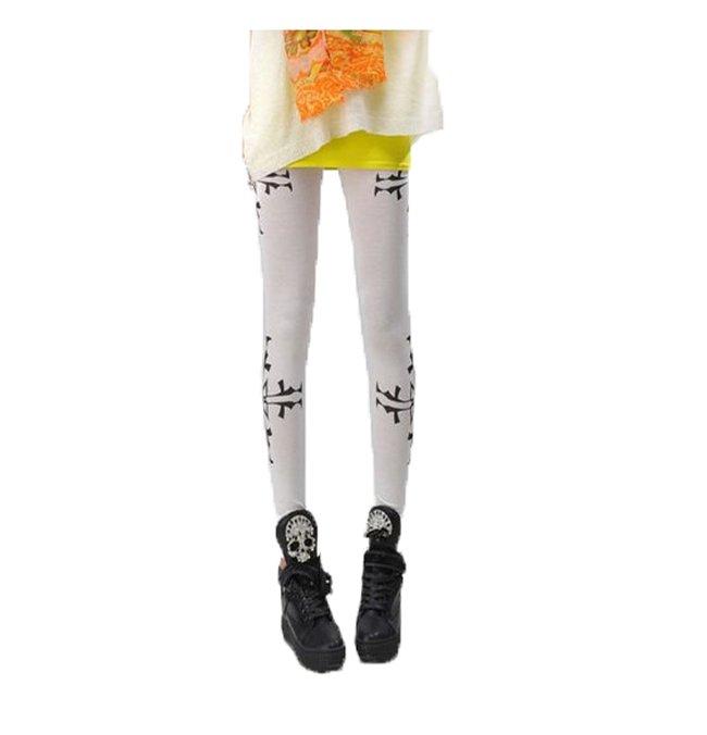 Vita Leggings med mönster på sidorna