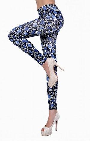 Svarta Leggings med blå blommor