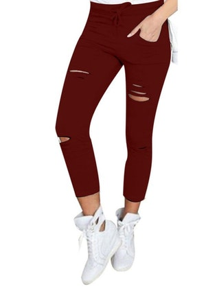 Jeans Leggings Stretch Jeggings Vinröd