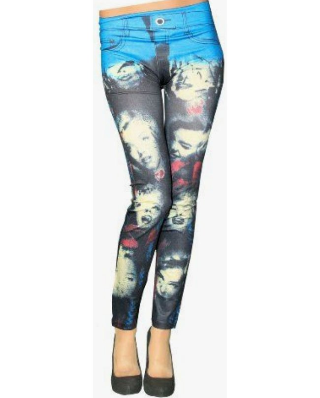 Marilyn Monroe Leggings Blå och Svart