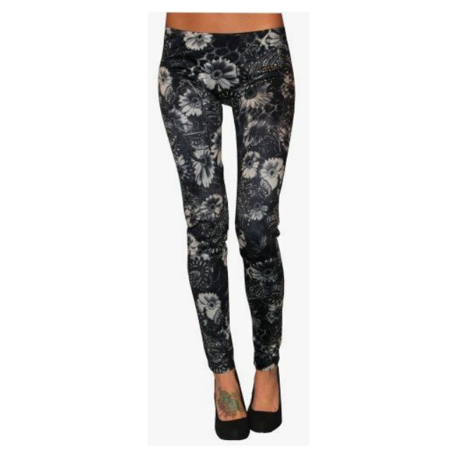 Grå blommiga leggings