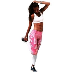 Rosa Yoga Leggings med Flammor