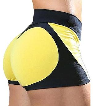 Svart gula hjärtan shorts