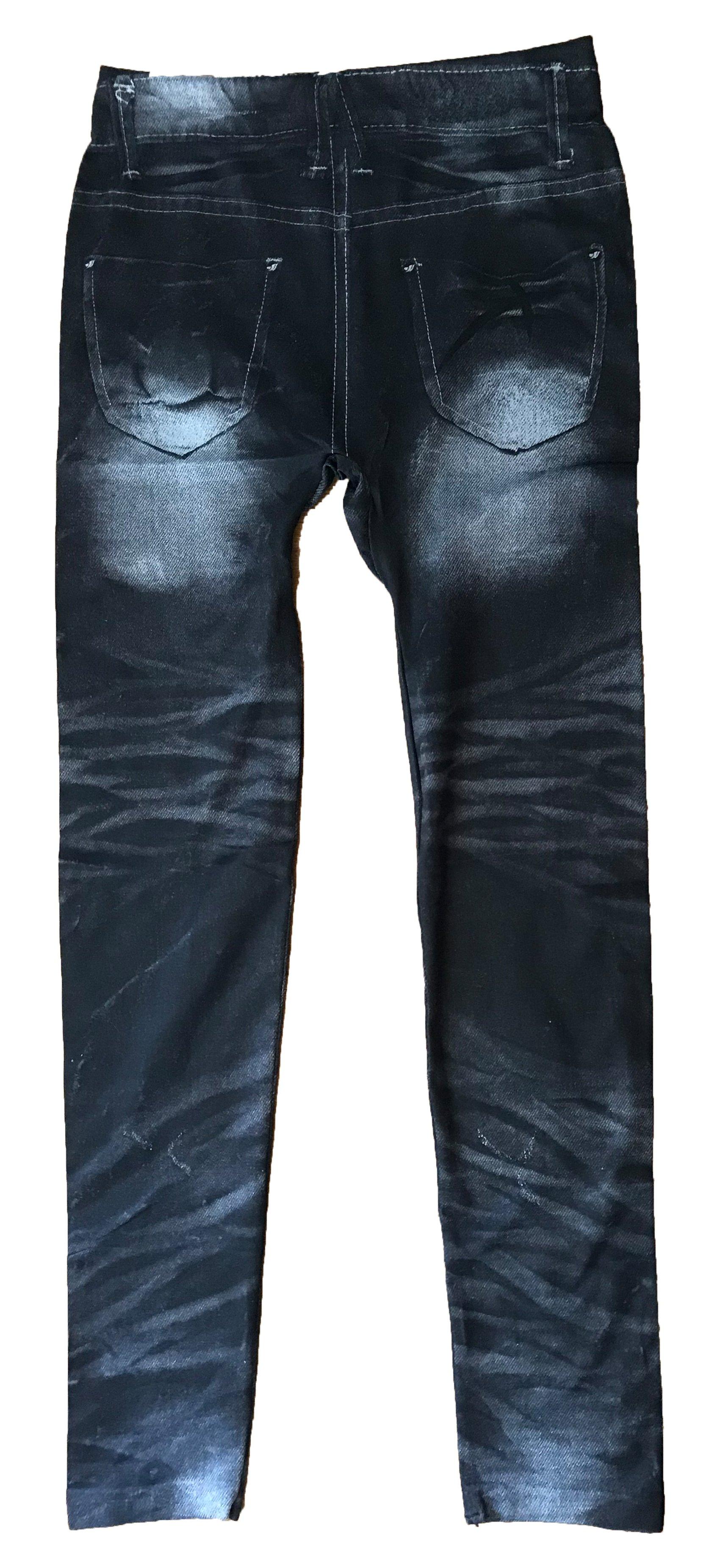 Svarta jeansleggings med tryck