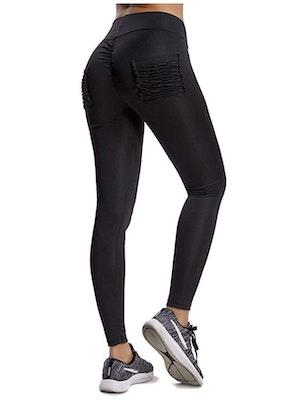 Svarta Leggings med rynkade fickor