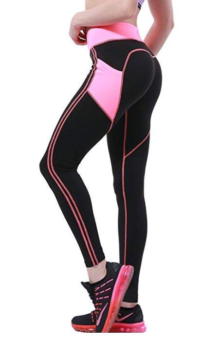 Svarta Rosa Leggings med mobilficka på sidorna