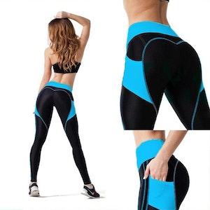 Svart Blå Leggings med mobilficka på sidorna