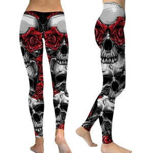 Leggings rosor dödskalle
