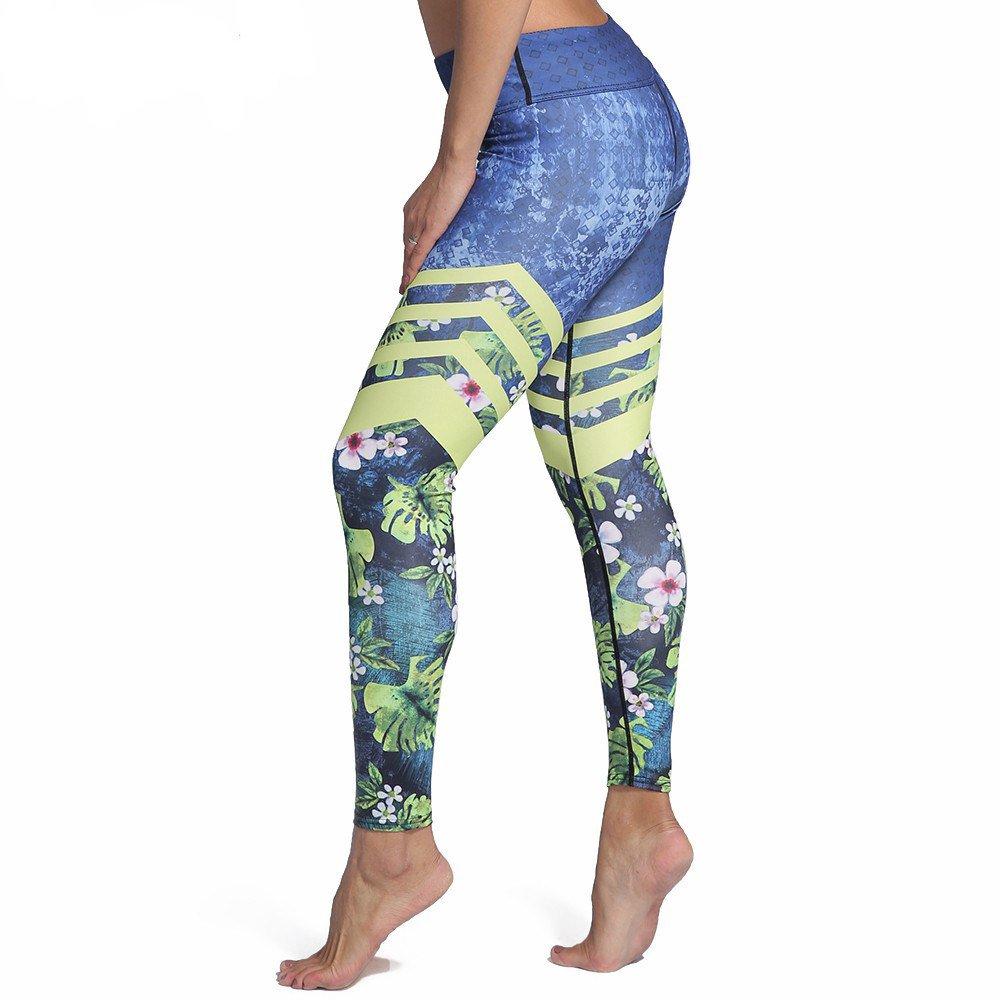 Blå Yoga Leggings med Löv och Blommor