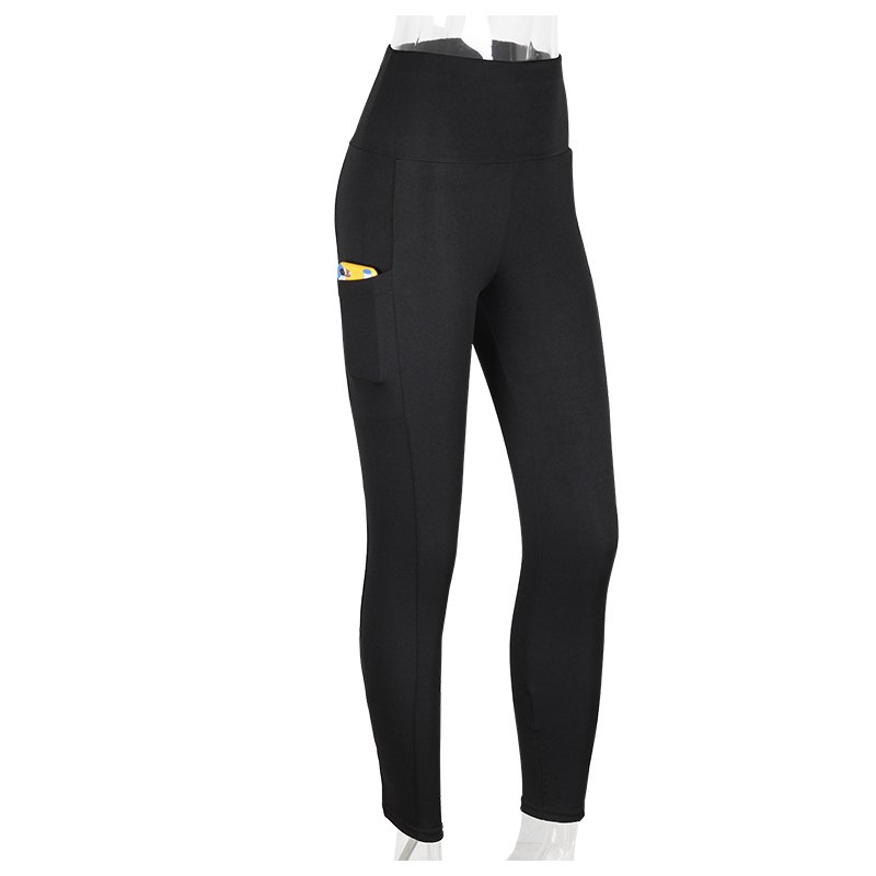 Svarta Blå Leggings med 2 fickor