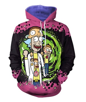 Cartoon 3D Rick and Morty Men Hoodies