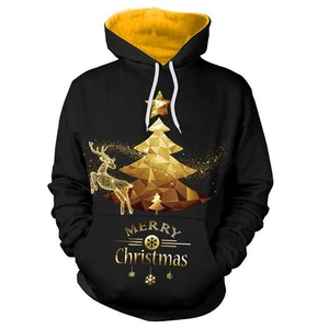 Santa 3D Golden Merry Christmas Hoodies
