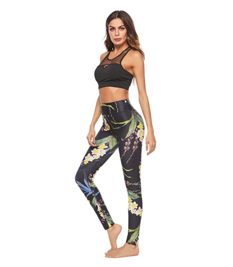 Svarta Blommiga Leggings